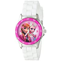 Kids' FZN3550 Frozen Anna and Elsa Watch with White Rubber Band