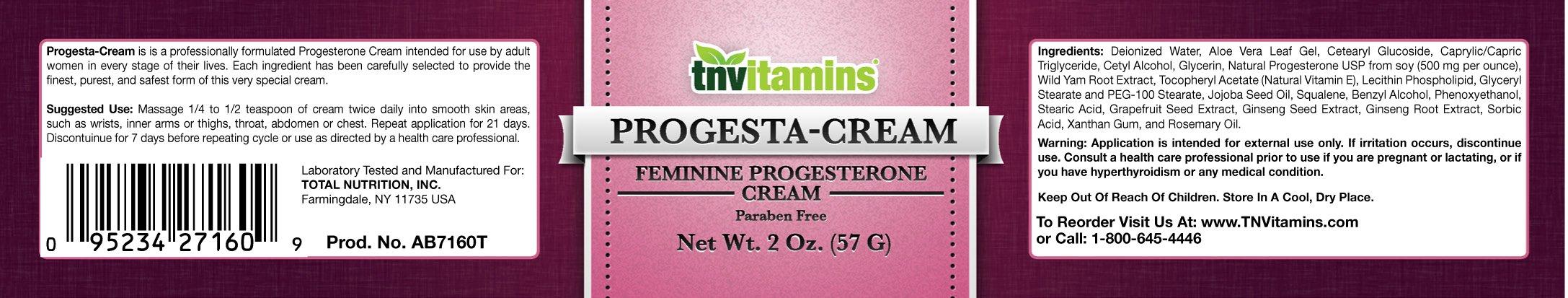 TNVitamins Progesterone Cream- 2 oz