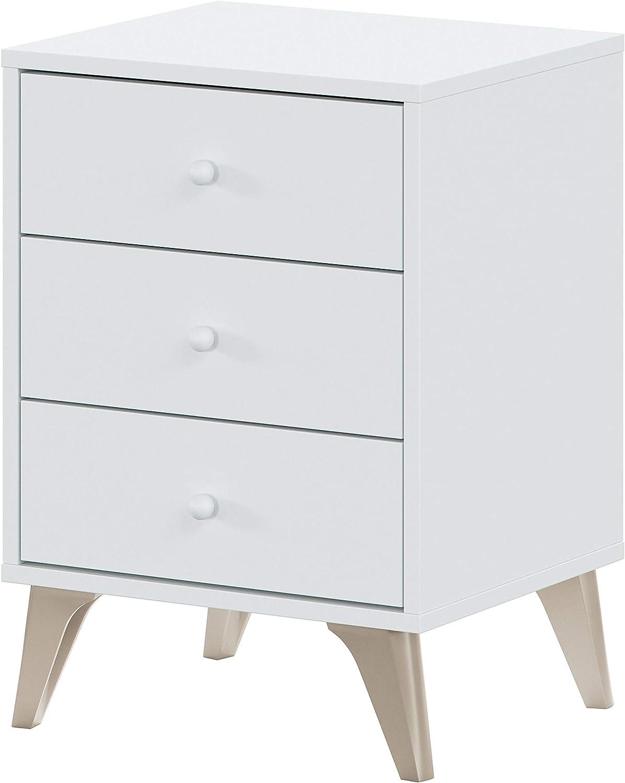 Habitdesign 007803A - Mesita de Noche 3 cajones, Modelo Sweet, Color Blanco Artik, Medidas: 40 cm (Ancho) x 33,5 cm (Fondo) x 56 cm (Alto)