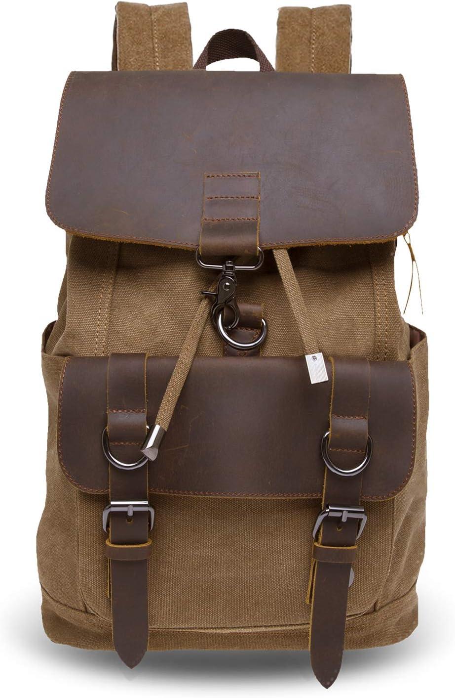 Vintage Canvas Backpack for Men, Casual Bookbag for School Travel Hiking 25L, Fit 15.6 Laptop