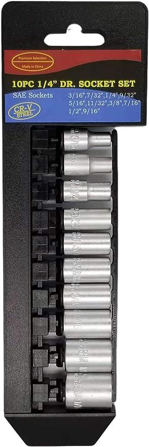 "Craftsman EVOLV 1//4/"" Drive 10 PC Piece 6 Pt Point SAE Socket Set 5//32/"" 1//2/"""