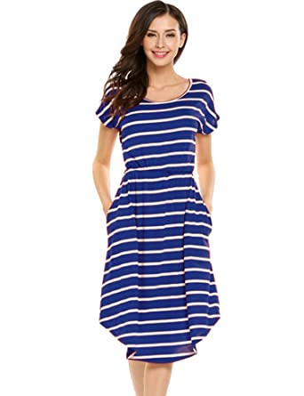 d22fb7502028 Halife Women s Summer Casual Stripe Elastic Waist Loose Beach Midi Dress  (XS
