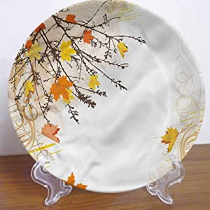 10 Inch Nature Pattern Ceramic Decorative Plate,Maple Leaves in Autumn Ceramic Stoneware Decorative Plate Decor Accessory for Pasta, Salad,Party Kitchen Home Decor