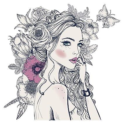 Pegatina de pared Modelar Mujer guapa con flores en el pelo ...