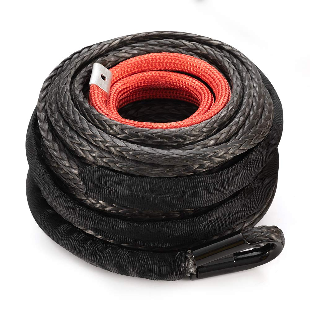 Synthetic Winch Rope 3/8'' x 85' - 25000 Ibs Winch Line Cable Rope with Protective Sleeve for 4WD Off Road Vehicle ATV UTV SUV Motorcycle by FieryRed