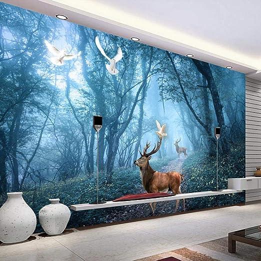 Fresque Murale Forêt Vierge Oiseau Elk Murale Salon Canapé