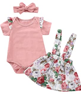 dd0cd85edc4d Outfit Set Baby Girls Floral Rose Bodysuit Ruffles Overall Skirt with  Headband