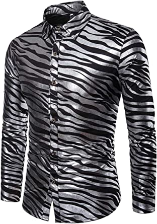 WSPLYSPJY Camisa de tirantes para hombre, impresión metálica, hipster, fiesta, club nocturno, botones - Negro - X-Large: Amazon.es: Ropa y accesorios