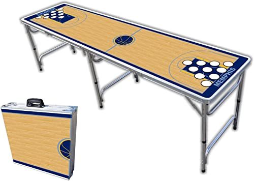 8-Foot Professional Beer Pong Table w Optional Cup Holes - Memphis Basketball Court Graphic