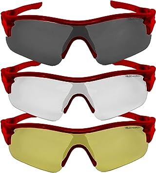 Rot mit 3 Linsen und weichem Geh/äuse VeloChampion Tornado Sonnenbrille