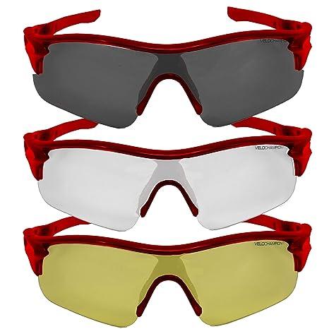 VeloChampion Warp Gafas de Sol (con 3 Lentes: Inc Ahumado, Claro) Rojo Red Sunglasses