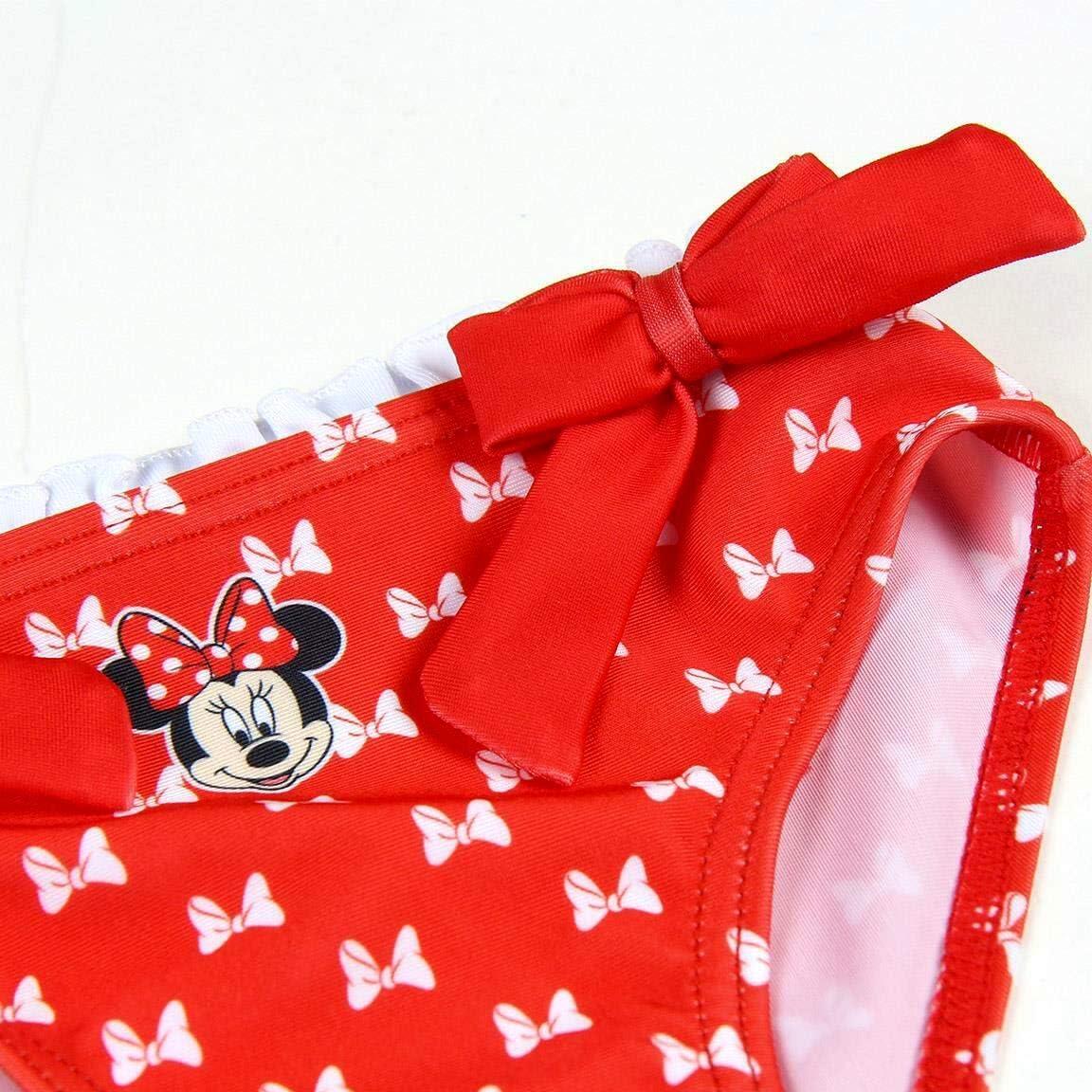 Costume da Bagno Slip Mare Bambina Minnie Mouse Disney 6-12 18-24 36 Mesi Rosso