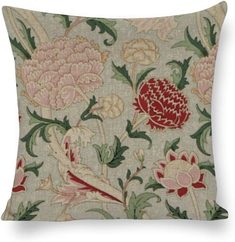 Yilooom Throw Pillow Covers, William Morris Cray Floral Pre_Raphaelite Vintage Throw Pillow Cases Cotton Linen Pillowcase Cushion Cover Home Office Car Decor Square 12x12 Inch