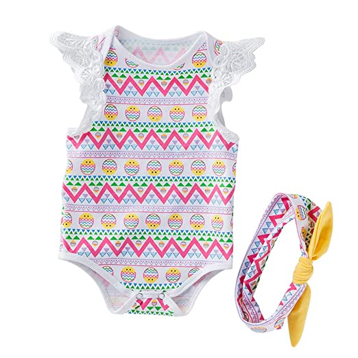 5b09648fa Amazon.com  Riverdalin Newborn Infant Baby Girl Rompers+Headband ...