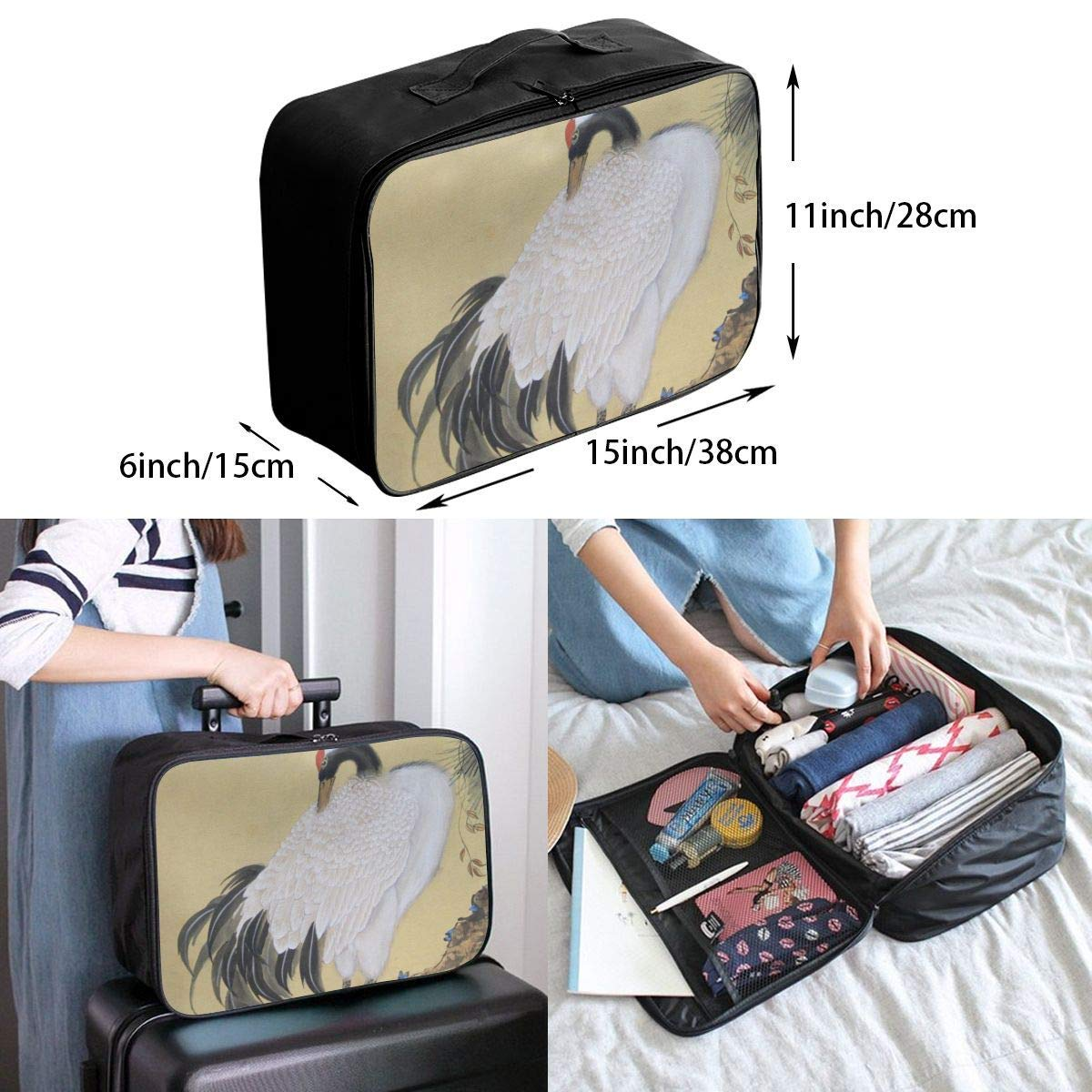 JTRVW Luggage Bags for Travel Lightweight Large Capacity Portable Duffel Bag for Men /& Women Tree White Crane Travel Duffel Bag Backpack