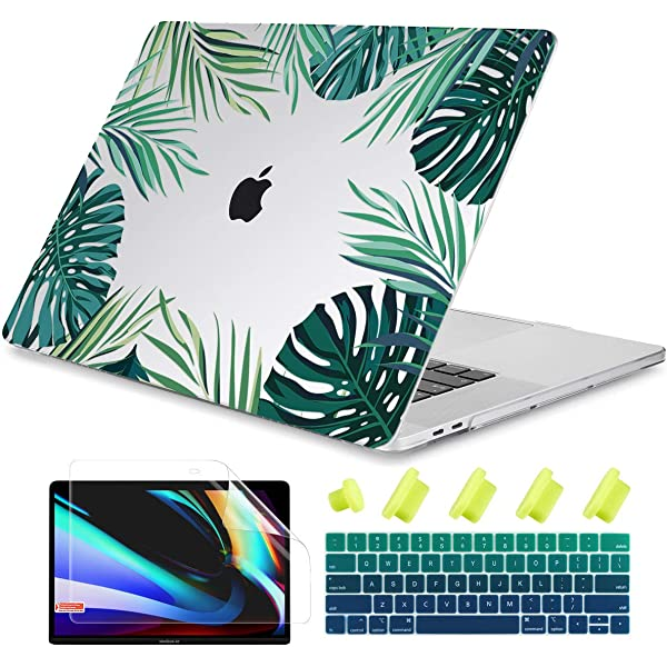 Tropical Plants Green Leaves Black and White Stripe Print Laptop Sleeve Laptop Cover for 17//15//13 MacBook Pro