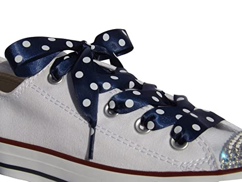 2789ae8792e High Fashion Navy Polka Dot Satin Ribbon Shoe Laces   Shoe Strings To Fit  Converse Sneakers