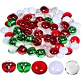 Winlyn Christmas Glass Gems and Jingle Bells Mix Metal Craft Bells Flat Glass Marbles for Holiday Winter Wedding…