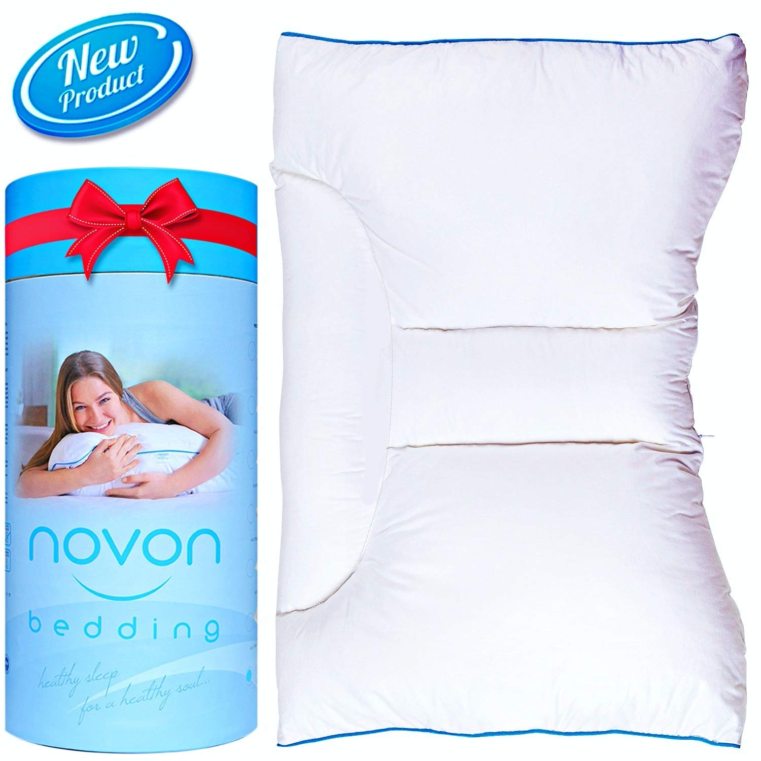 Cervical Pillow for Sleeping | Ergonomic Orthopedic Traction Pillow for Neck and Back Pain Relief | Neck & Shoulder Support Side Back Sleepers | Adjustable Contour Design-No Memory Foam - Cotton Cover