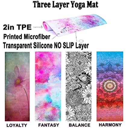 Skyin Combo Yoga mat,TPE+Ultra Absorbent Microfiber+Silicon Nonslip Surface,Eco Friendly,Non Slip Yoga Mat for Exercise,Yoga and Pilates,