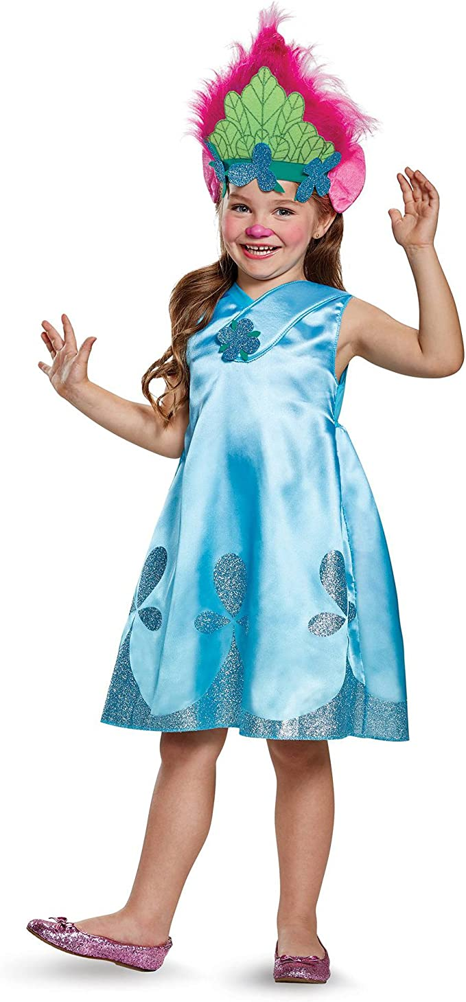 DreamWorks Trolls Disfraz de Amapola niñas, Verde Azulado, M ...