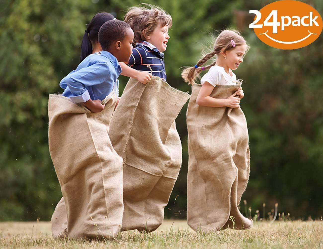 ToysOpoly #1 Premium Burlap Potato Sack Race Bags 24'' x 40'' (Pack of 24) - of Sturdy Rugged, 100% Natural Eco-Friendly Jute , Perfect Birthday Party Game for Kids & Adults