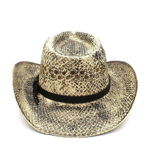 ZHJTMC Mujeres Hombres Paja Sombrero de Vaquero Occidental Tejido a Mano  Lady Dad Sombrero Hombre Vaquera Jazz Caps Punk (Color   Natural 3e39f355451