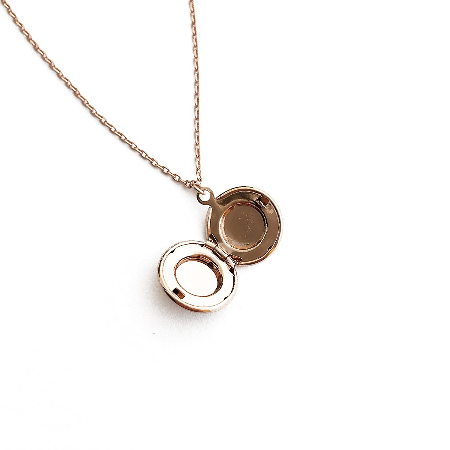 Minimalist or Silver Rose Gold HONEYCAT Keepsake Locket Necklace in Gold Delicate Jewelry
