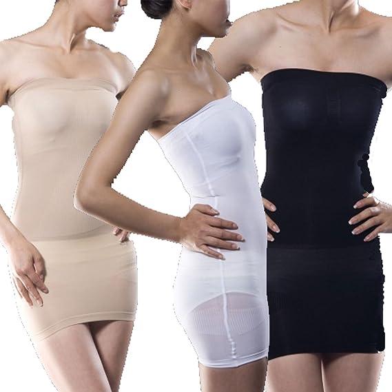 Vestido interior ajustado sin tirantes para mujer, vestido slip entubado. blanco blanco: Amazon.es: Ropa y accesorios