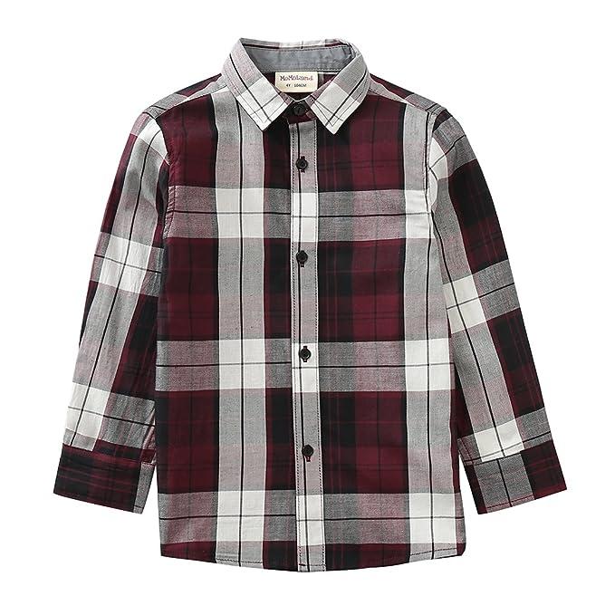 90ce57605bee Amazon.com: MOMOLAND Todder Boys Long Sleeve Plaid Button Down Shirt ...