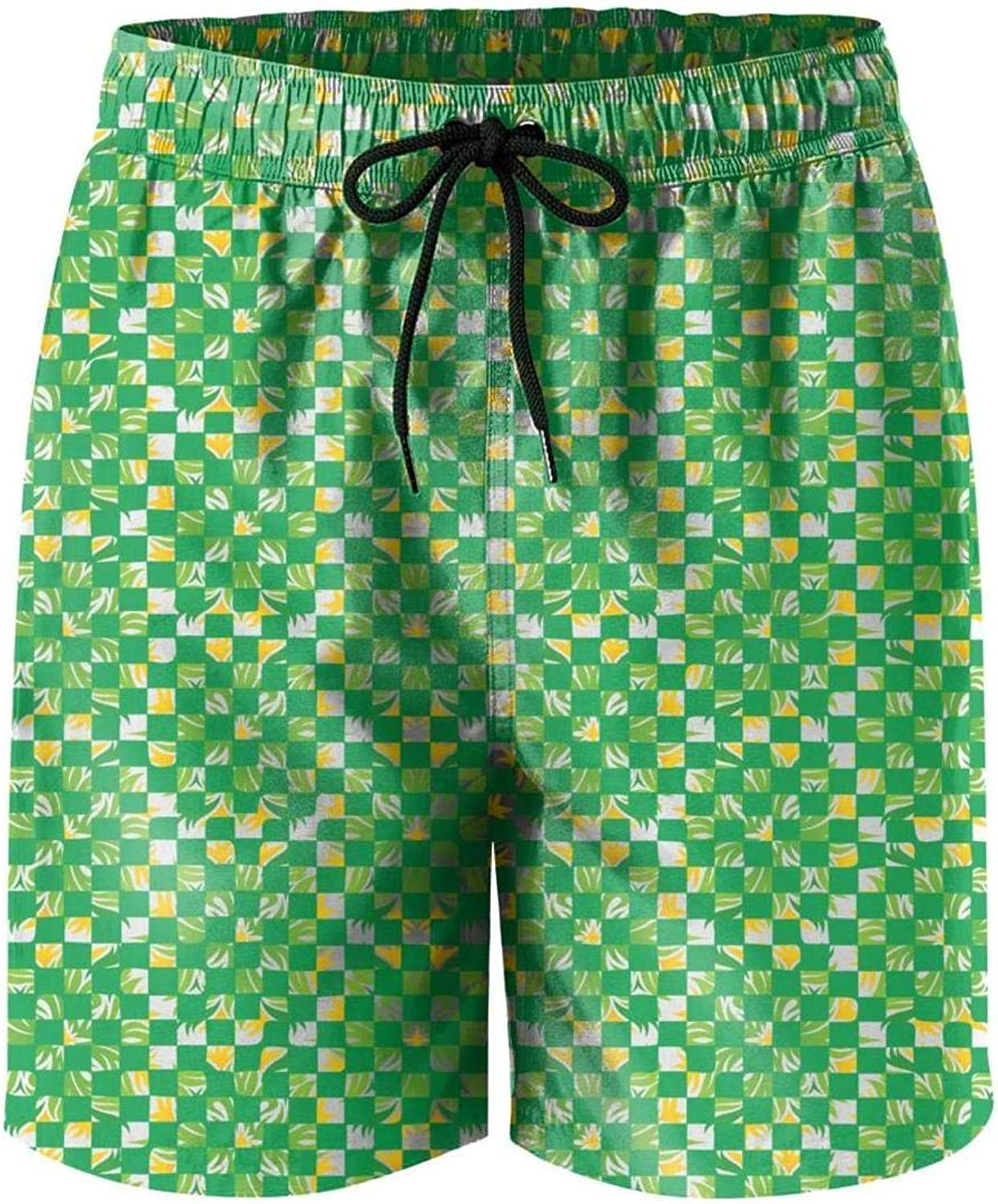 camo Adult Swimming Trunks Sport Casual DSFASDXFX Palnt-Green-Checkered