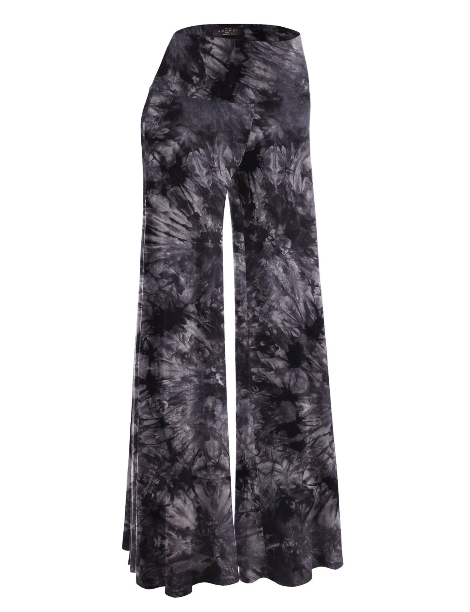 Made By Johnny WB1060 Womens Chic Tie Dye Palazzo Pants L Black