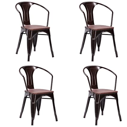 Costway Tolix Style Dining Chairs Industrial Metal Stackable Armrest Chairs  Bistro Metal Wood Furniture, Set
