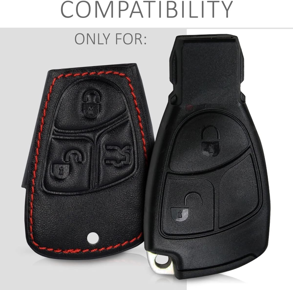 PU Leather Protective Key Fob Cover kwmobile Car Key Cover Compatible with Mercedes-Benz 2-3 Button Car Key Black
