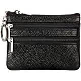 Women's Genuine Leather Coin Purse Mini Pouch Change Wallet with Key Ring