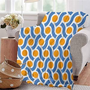 Luoiaax Geometric Children's Blanket Orange Dots Spots with Informal Lines Waves Curvilinear Abstract Design Lightweight Soft Warm and Comfortable W57 x L74 Inch Orange Blue White