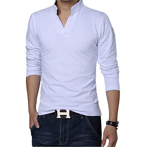 a58751ca LionRoar Men's Mandarin/Chinese Collar Polo Neck T-Shirt for Men:  Amazon.in: Clothing & Accessories