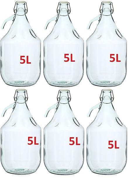 6 x botellas de vino de vidrio gärballon globo globo 5L cierre BDG5D ...
