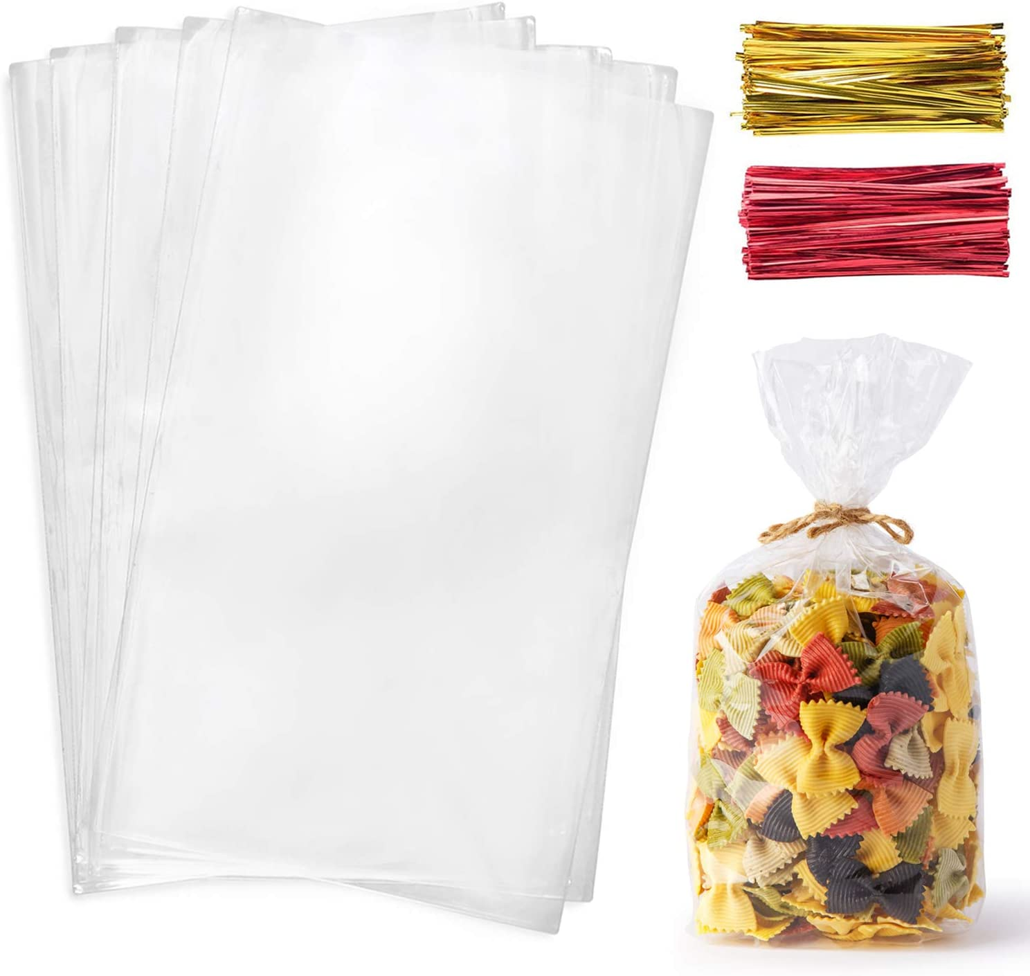 Cello Cellophane Treat Bags,200 PCS 7x13 Inches Clear Pastic Gift Bags with Twist Ties,Party Favor Bags