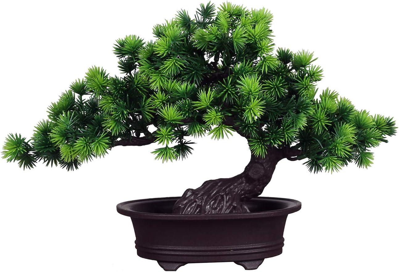 LWBAN-plants Bonsái de cedro artificial , Artificial flor de la planta con Potted Feng Shui Decorativa , 20 cm - Bonsái decorativo / Bonsai artificial , #28r