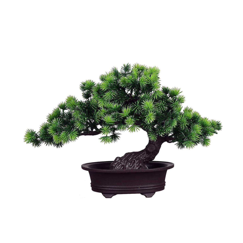 Zunbo Bonsai Pflanze Kunstpflanze K/ünstlicher Bonsai-Baum Kiefer Kunststoff f/ür B/üro//Fensterbank//Hof Gr/ün
