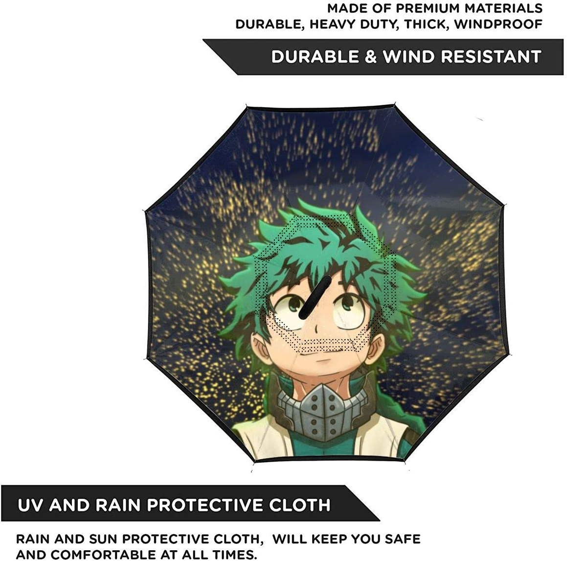 Windproof And Rainproof Double Folding Inverted Umbrella With C-Shaped Handle UV Protection Inverted Folding Umbrellas My Hero Academia Car Reverse Umbrella