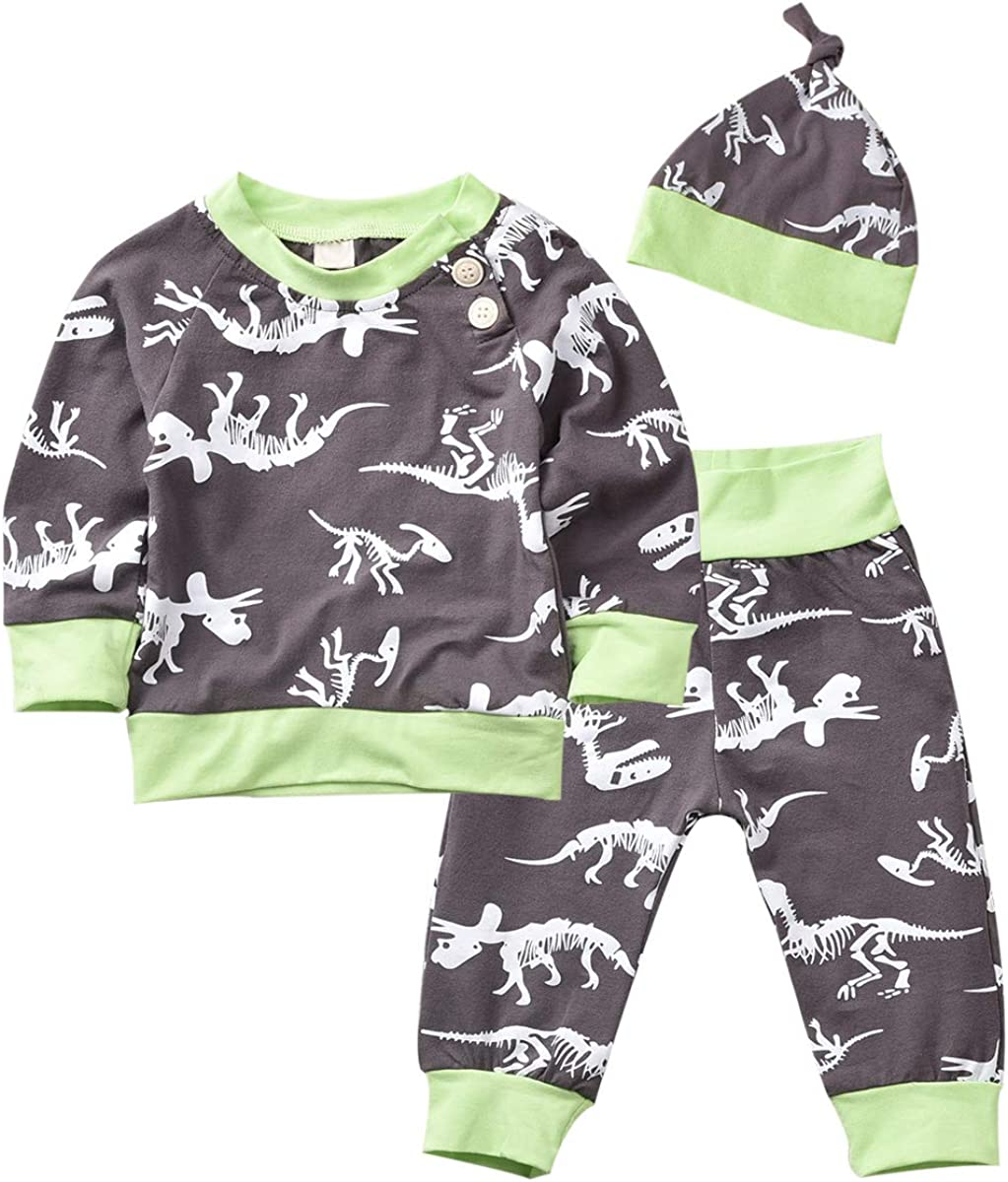 Fioukiay Lovely 3Pcs Baby Boys Girls Christmas Outfits Set T-Shirt Tops Cotton Pants with Hat Clothes