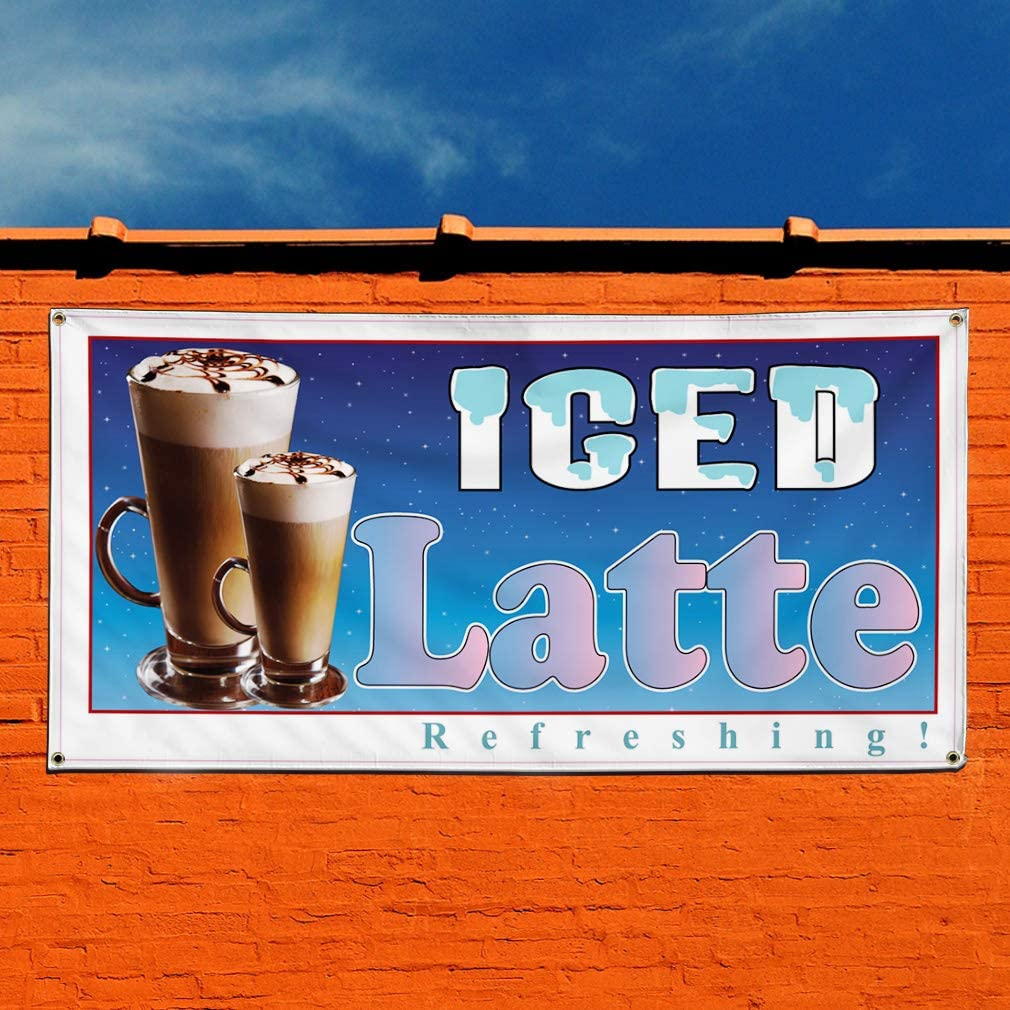 24inx60in 4 Grommets Multiple Sizes Available Vinyl Banner Sign Iced Latte Restaurant Cafe Bar Style U Marketing Advertising Brown Set of 3