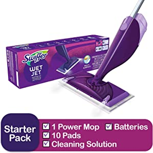 Swiffer Wetjet Hardwood & Floor Spray Mop Cleaner Starter Kit, Includes: 1 Power Mop, 10 Pads, Cleaning Solution, Batteries