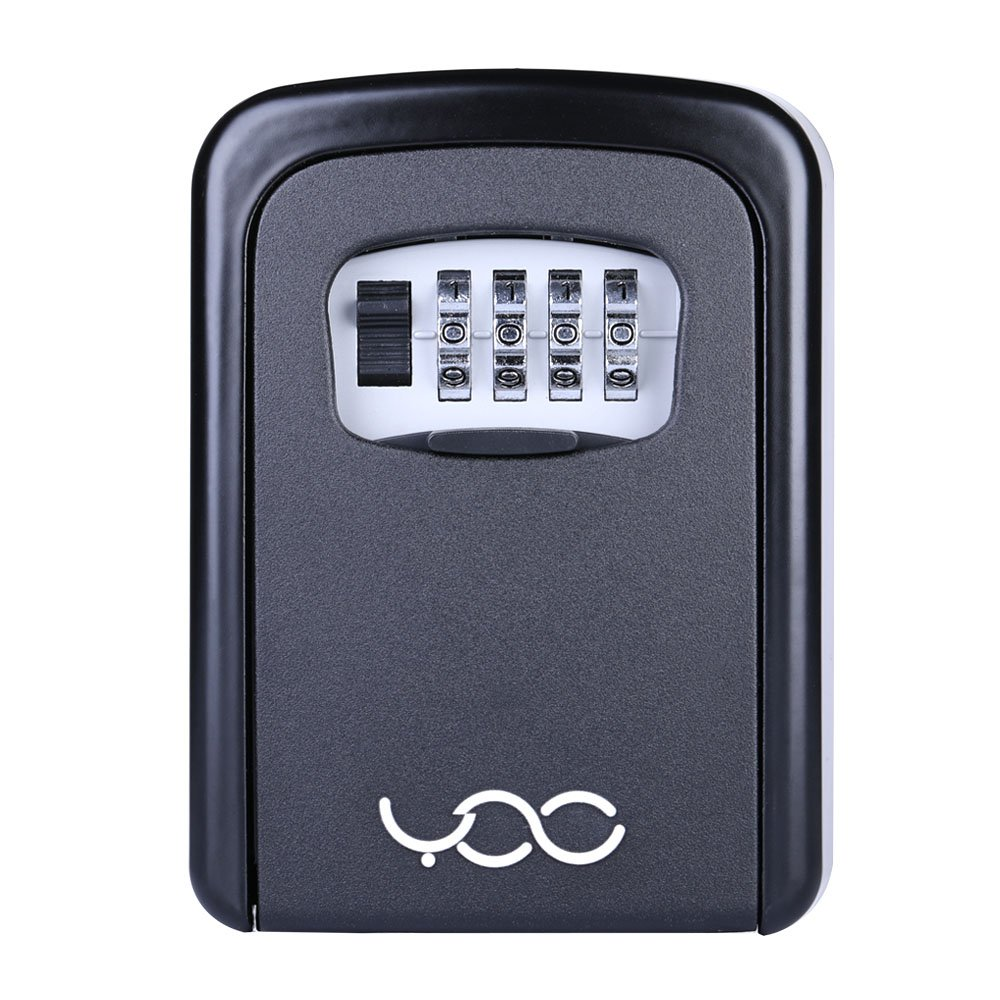 YDO Key Storage Lock Box Secure 4 Digit Combination Case Wall Mounted Organizer (Black) by YDO (Image #2)