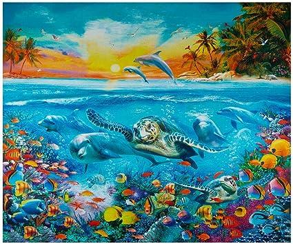 N American Wildlife DP Ocean Life cotton quilt fabric Kaufman Under Sea Turtle