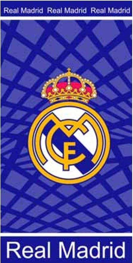 Toalla de Real Madrid, toalla de baño, toalla de playa 70x140cm (Azul)