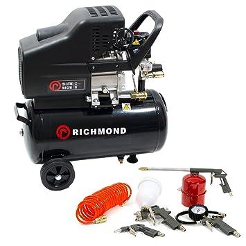 Compresor de aire de 24 litros y kit de herramientas, 9,6 CFM, 2,5 CV: Amazon.es: Bricolaje y herramientas