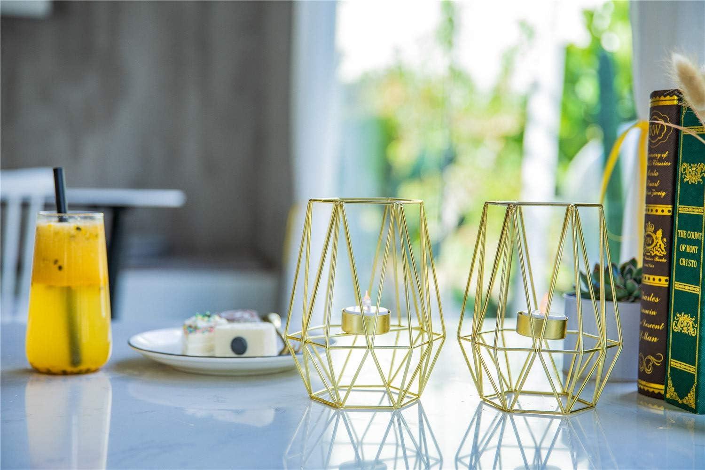 candelabros portavelas de t/é decoraci/ón del hogar piezas centrales de velas geom/étricas Candelabros geom/étricos de metal 2 piezas Lanlong centro de mesa